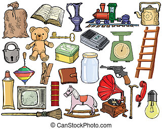 set of different vintage objects - set of vector, cartoon...