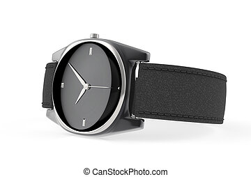 Elegant wristwatch - Elegant black wristwatch on white...