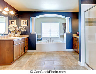 Dark blue classic elegant bathroom interior.