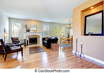 Living room inteior with fireplace and hardwood floor. -...