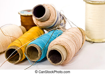 thread spools on isolated background