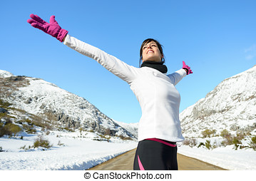 Sport runner woman freedom success