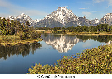 Mt. Moran reflected at Oxbow Bend - A summer view of Mt....
