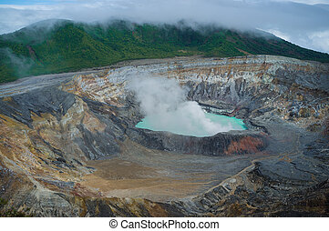 Volcano crater - Crater of Poas volcano in early morning...