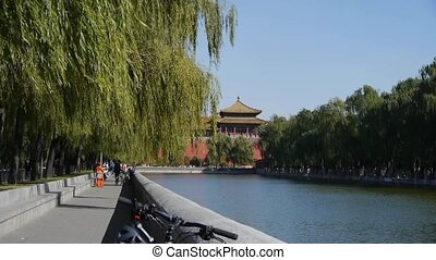 Chinese ancient buildings tower willow relying on river in...