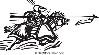 Jousting Knight Left - Woodcut expressionist style image of...
