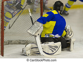 ice hockey Goalie - ice hockey goalie in game loocking for...