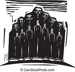 Orthodox Choir - Woodcut expressionist style image of a...