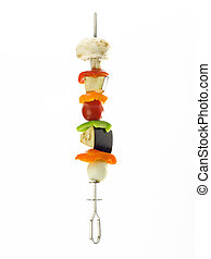 full kabob - A skewer filled with various pieces of...