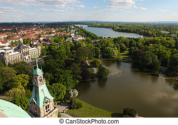 Hannover - View from the New Town Hall on the Maschsee and...