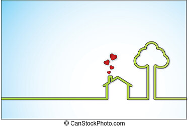 Green Sweet Home with Red Heart