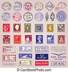 Postage Stamps Marks Stickers - Vector set of 38 vintage...