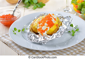 Jacket potato with caviar - Baked potato with cream cheese...