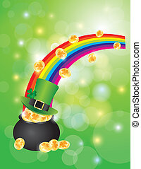 Pot of Gold with Bokeh Background Illustration - St Patricks...