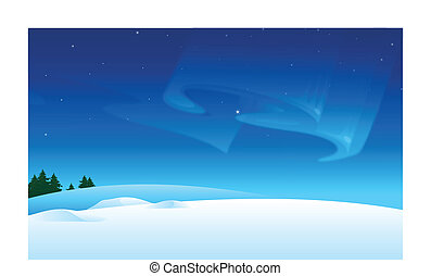 Snow landscape and Aurora Borealis in sky