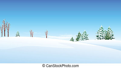 Fir trees over snow landscape