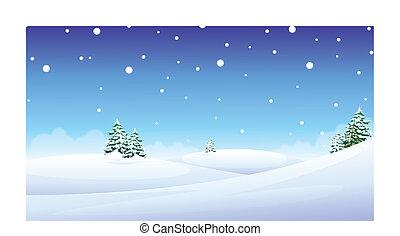 over snow landscape - Fir trees over snow landscape