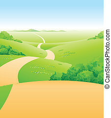 Path over green landscape - This illustration is a common...