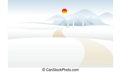 Snow mountain landscape - Path over Snow mountain landscape...