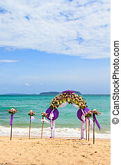 Flower decoration at the beach wedding