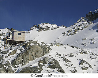 Cabin at Blackcomb Peak, British Columbia - Cabin amidst the...