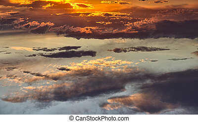Impressive clouds with spectacular sunset colors