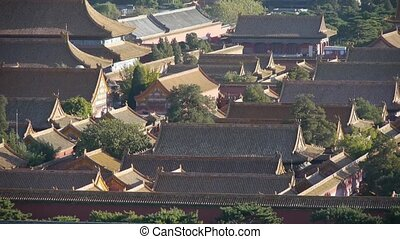 Panoramic of China ancient tower architecture Beijing Forbidden City.