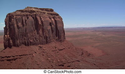 aerial shot of Monument Valley mittens