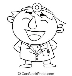 Outlined cute doctor - black and white coloring page outline...