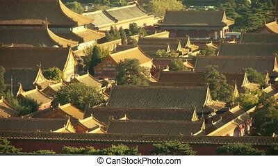 Panoramic of China ancient tower architecture Beijing...