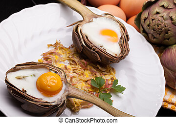 Eggs In Artichokes - Creative breakfast for Valentines day...