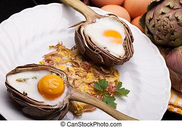 huevos, en, Alcachofas
