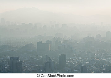 Smog over city - Heavy fog over Seoul (view from Yongmasan...