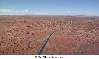 aerial shot of Monument Valley Highway
