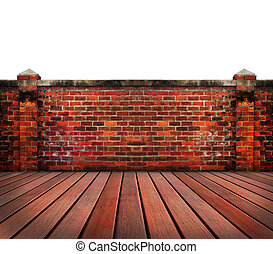 old brick wall wood terrace with blue sky backgrund