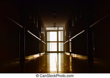 dark hallway in a retirement home
