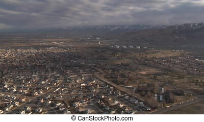 aerial shot of Salt Lake City neighborhoods in winter