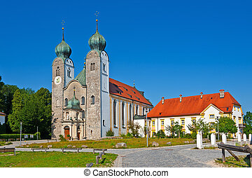 Baumburg - Christian Church with Clock Tower in Baumburg,...