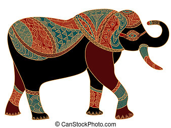 patterned elephant in the ethnic style brings happiness