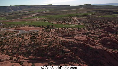 Aerial shot of desert golf course