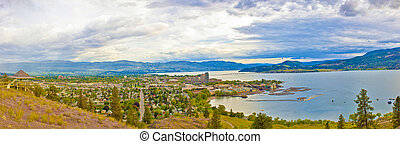 Kelowna Panorama - A wide angle view overlooking the city of...