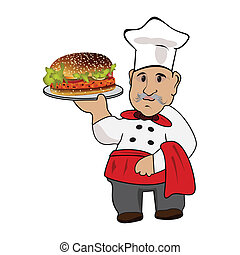 Chef cook with hamburger on plate