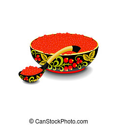 Red caviar on wooden spoon and bowl