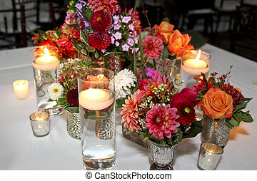 Flowers Centerpiece - various shapes and sizes of flowers...