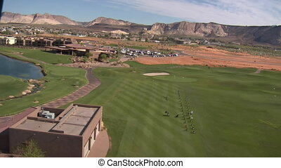 Aerial shot of clubhouse on desert course