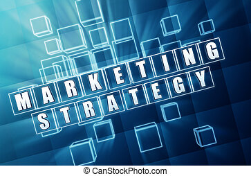 marketing strategy in blue glass cubes