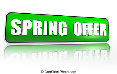 spring offer green banner - spring offer button - 3d green...
