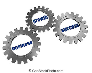 business, growth and success in silver grey gearwheels -...