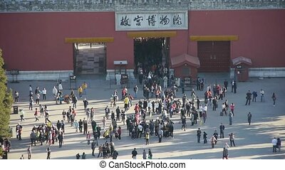 Many tourists people at China ancient architecture Beijing...