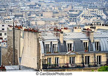 District Montmartre - Roofs in residential quarter of...